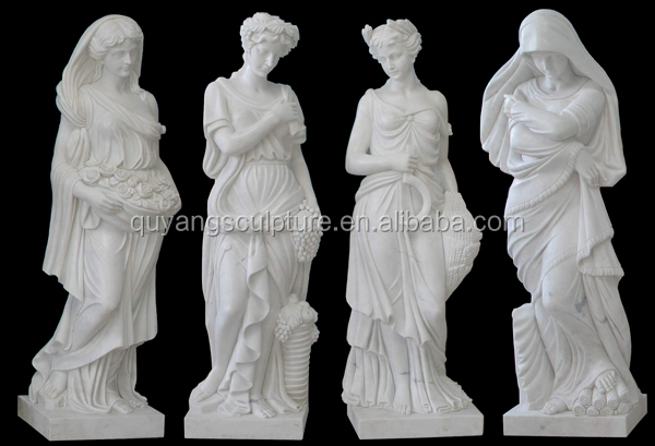Life Size White Marble Garden Four Season Statue Sculpture