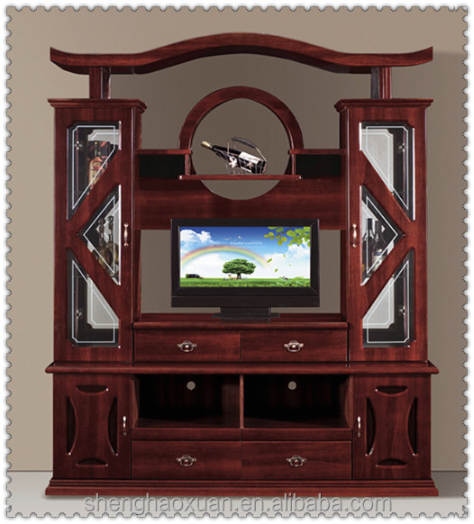 Hot selling Chinese antique tv cabinet with showcase 856 wall panel