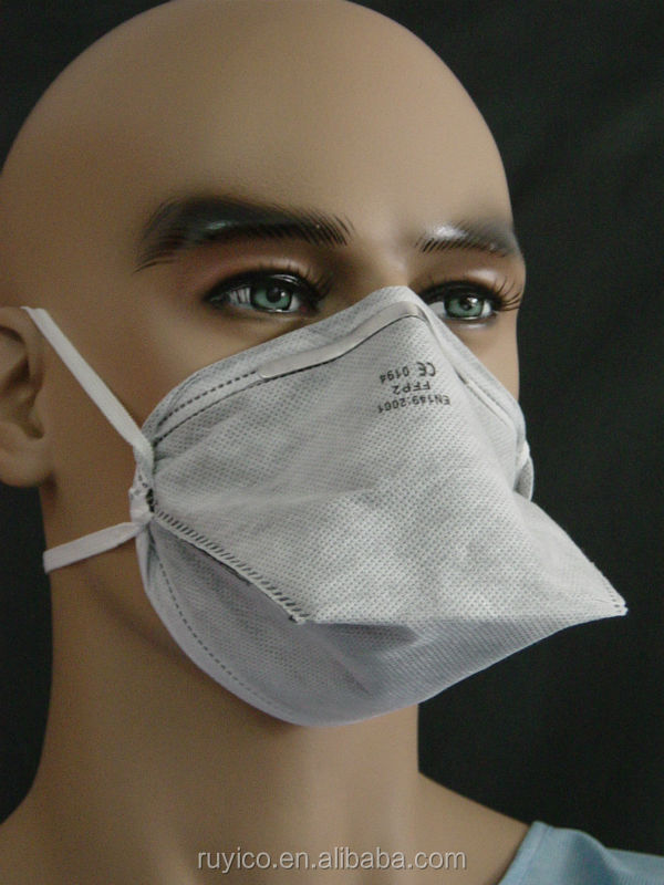 N95 P2 Flat Fold Dust Filter Face Mask Respirator With Activated ...