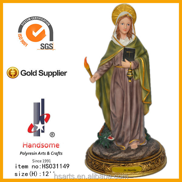 "12""saint martha statue with wooden base"