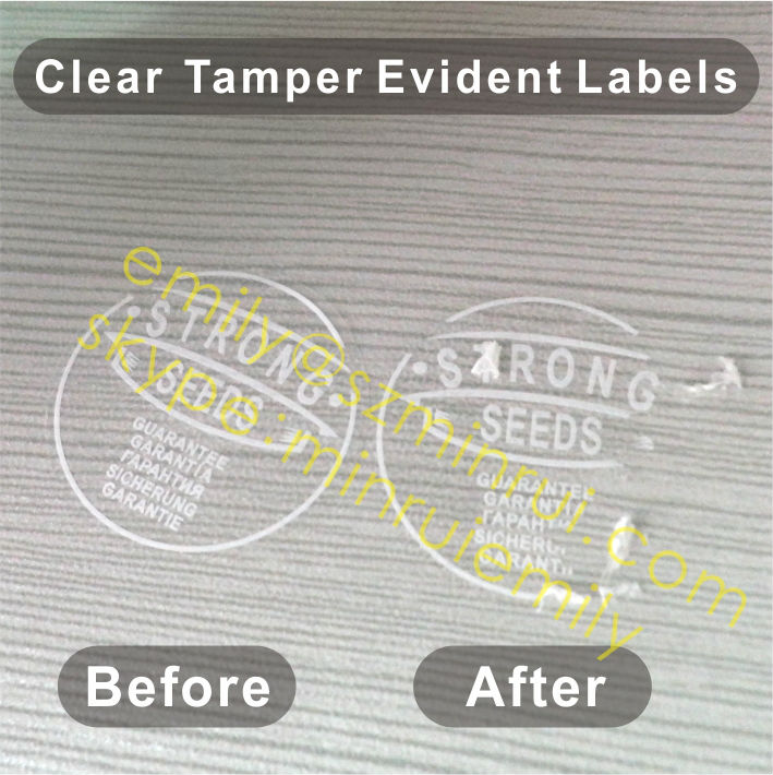 Custom white printing tamper evident labels for seal round destructible tamper proof seal stickers with