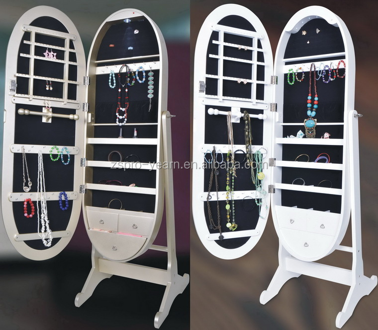 Oval Floor Standing Mirrored Jewelry Cabinet Chinese Wooden Furniture Makeup Armoire Storage with LED Light and Classic Designs