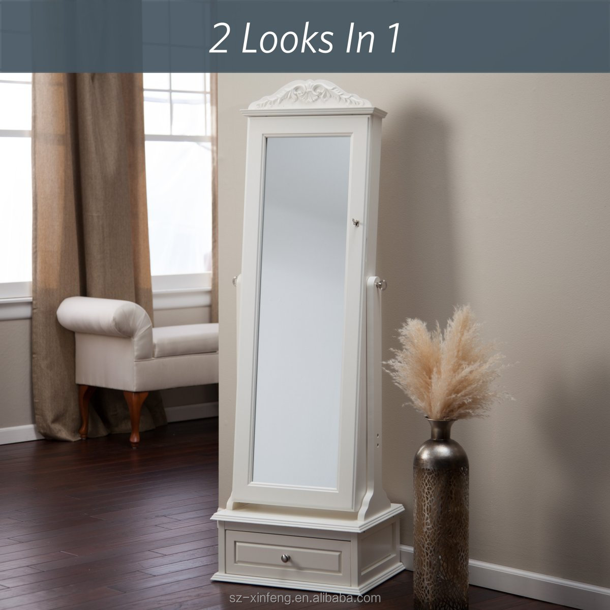 Transitional Cheval Mirror Locking Jewelry Armoire With Base Drawer