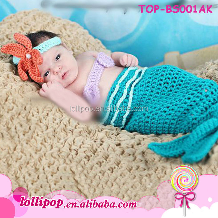 2016 Al Por Mayor Sirena Traje Crochet Sirena Ganchillo Saco Del ...