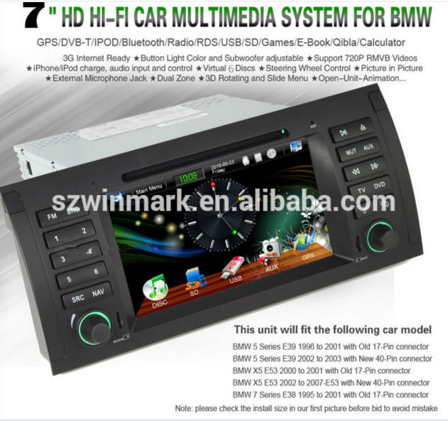 Windows Car Radio For Bmw E39 With  3g/gps/bluetooth/tv/radio/usb/sd/ipod/steering Wheel Control Dj7061 - Buy  Car Radio For Bmw X5,Double Din Car Radio