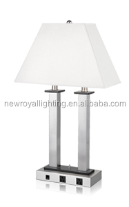 Popular Nickel Double Socket Table Lamp With Fabric Shade& Power ...