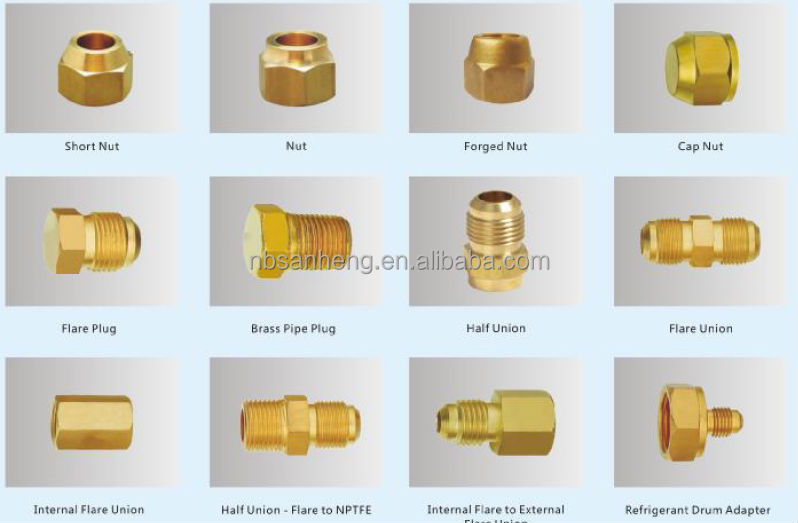 Brass fitting for pvc pipe elbows external flare to