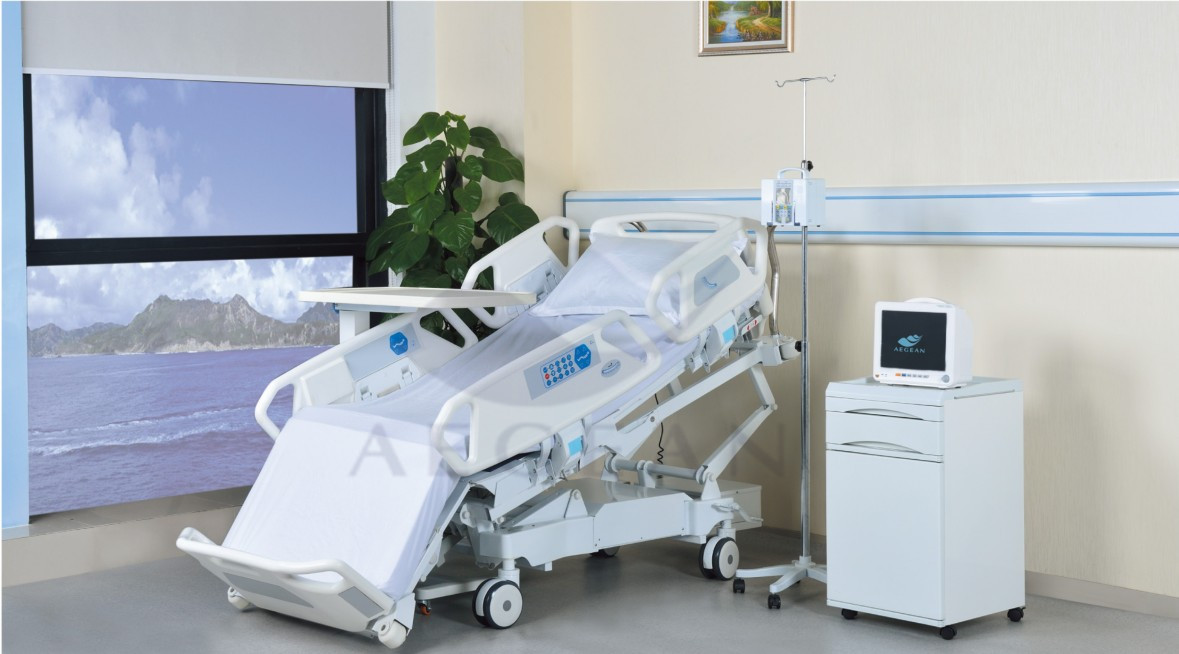 AG-BR001 Electro coating extend length eight functions icu intensive hospital bed electrical for patient use