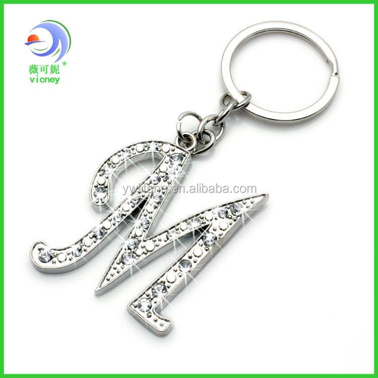 Personalized Cheap Rhinestone Keychain Letter M