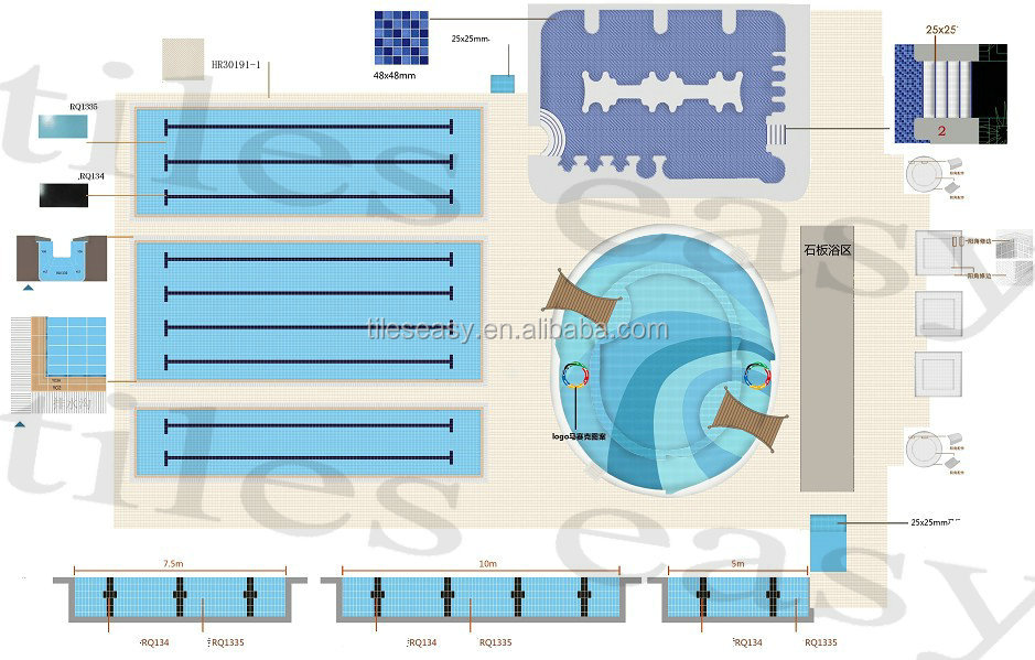 swimming pool nosing tiles for nosing system