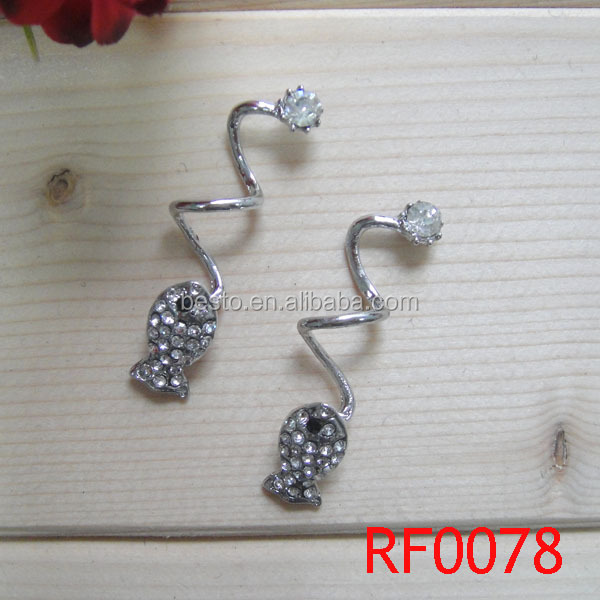 wholesale rhinestone small metal decorative shoe clip for flip flops