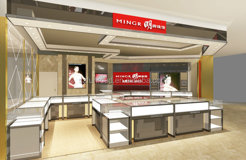 Jewelry Interior Showroom Design With Jewelry Display Stands