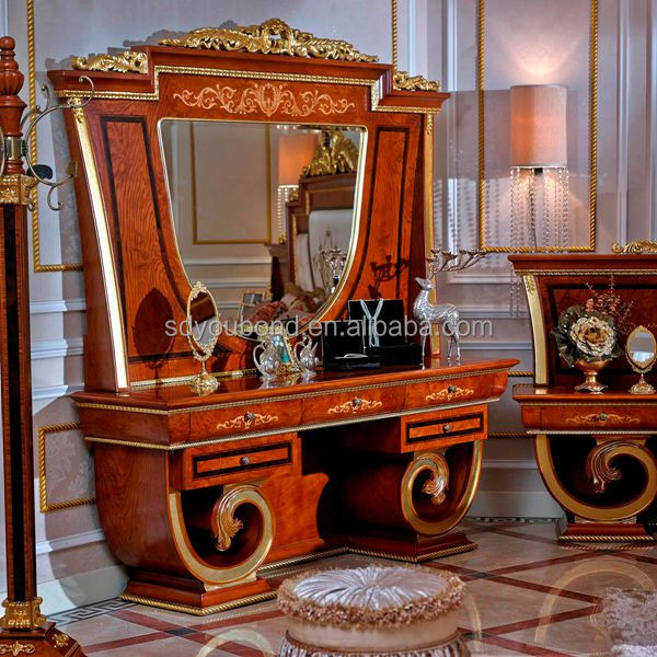 0038 High Quality Luxury Antique Solid Wood King Size Bedroom Set