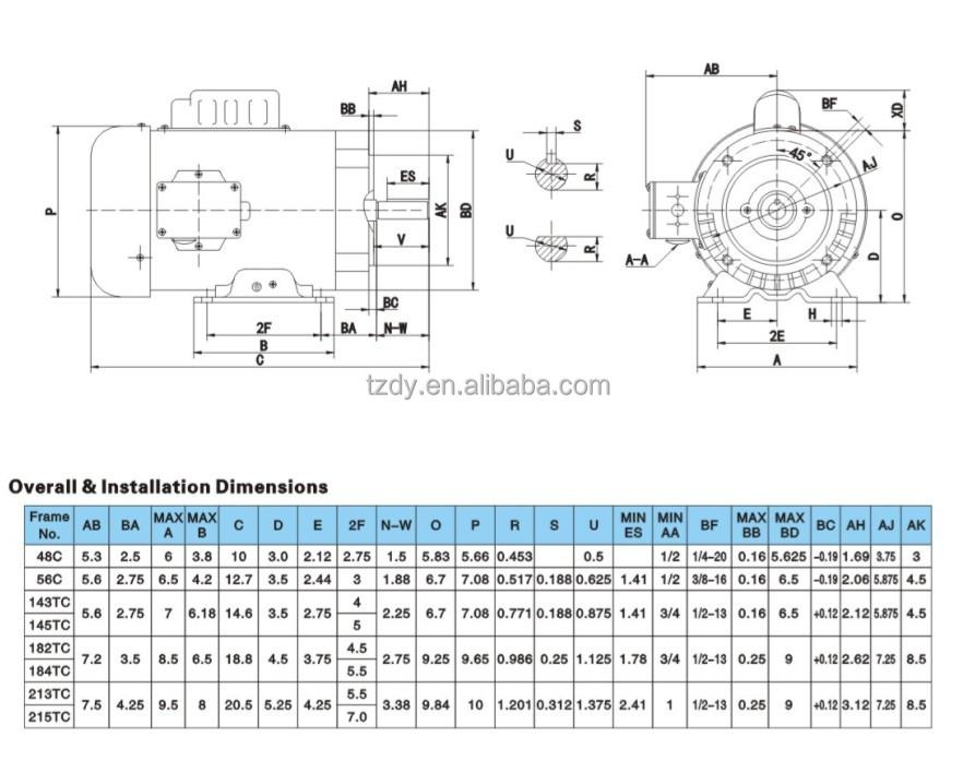 Nema Single Phase 3600rpm 1/3hp Frame 48c 56c Electric Motor - Buy Electric  Motor,Motor Electric,Single Phase Induction Motor Product on Alibaba com