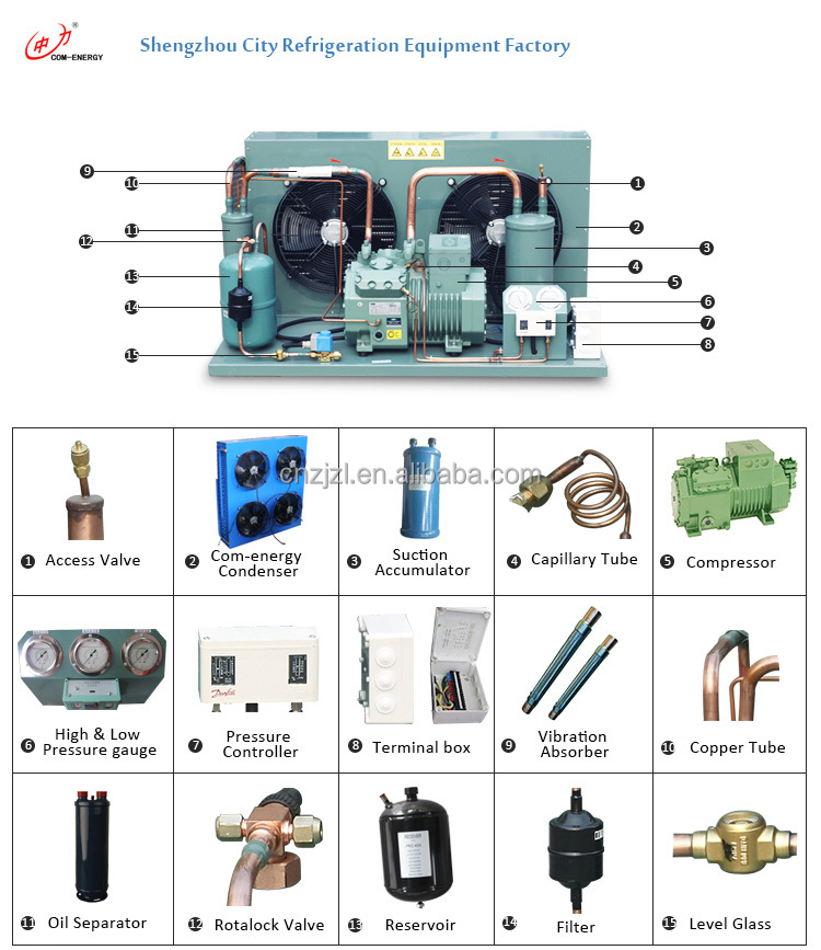 Air-cooled refrigeration condensing unit with good price,condensing units with Bitzer compressor