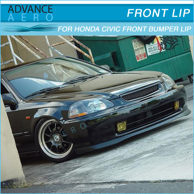 For Honda Civic Ek Sir Style Pu Front Bumper Lip 1999 2000 Body Kit