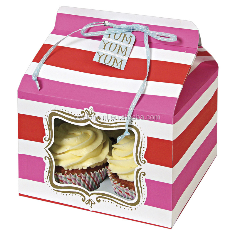 Bespoke Cupcake Box,4 Pack Mini Cupcake Boxes,Square Cake Box With ...