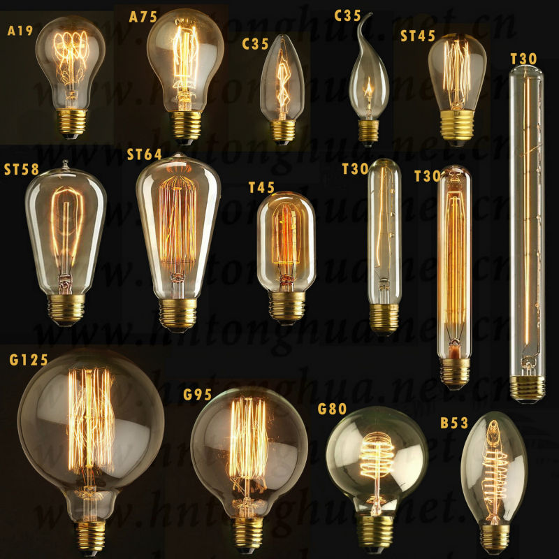 Buy B22 St64 110v 220v 40w Vintage Edison Style Filament: Vintage Globes Decoration Carbon Filament Bulbs Antique