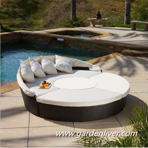 Modern kd rattan outside pool sunbed prices round canopy for Pool canopy bed