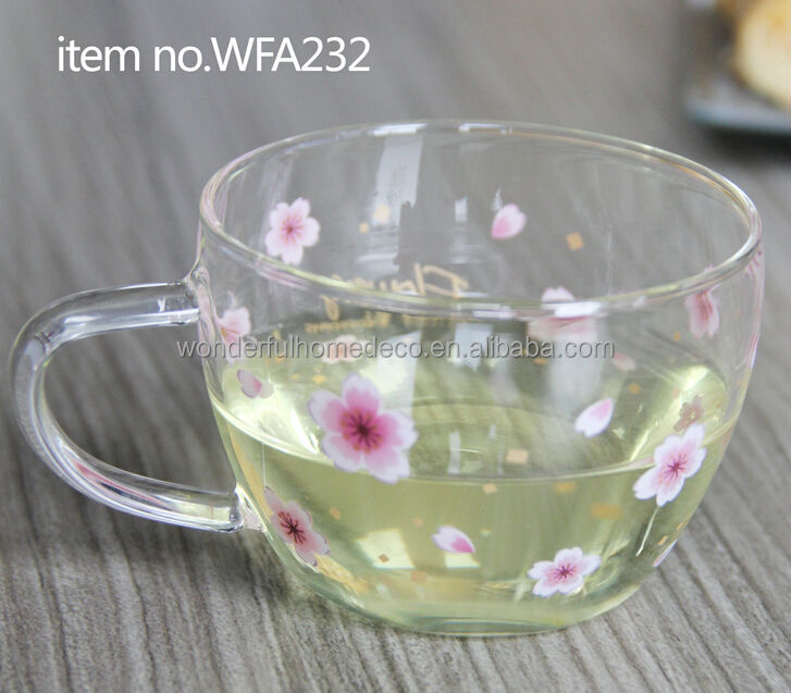 100ml heat resistant clear glass tea cups with plastic handle
