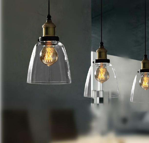 Old Fashion Clear Glass Cloche Filament Pendant Light