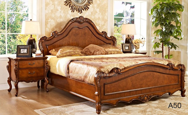 Wholesale % hand carve oak wood fancy no folding luxury bed