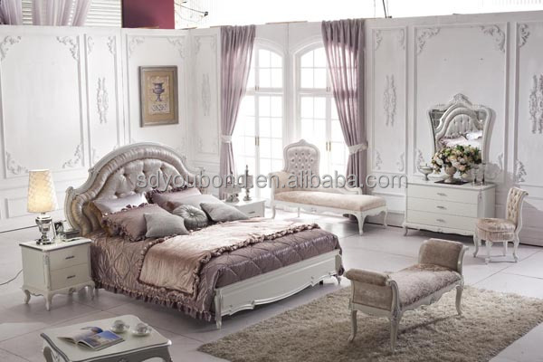 Unique Elegant White Bedroom Furniture Luxury Wooden Carved On Design
