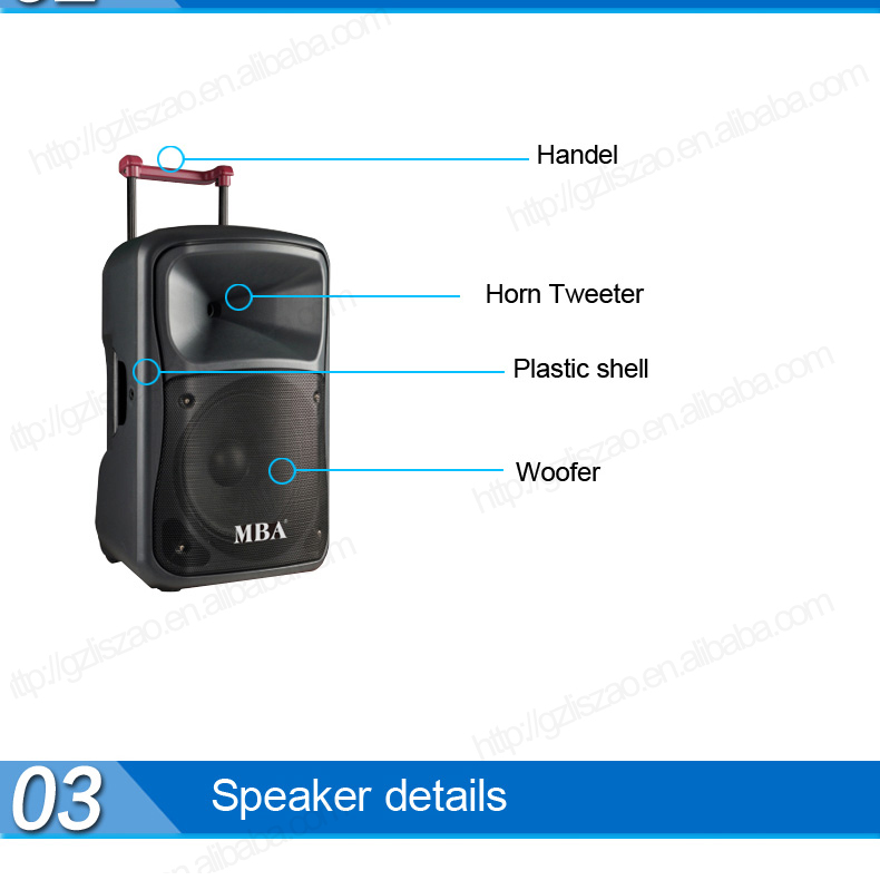 Mba Hot Plastic Shell Portable Bluetooth 12 Inch Plastic Active ...
