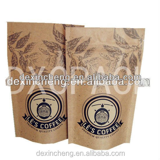 Foil Lined Kraft Paper Coffee Bags Biodegradable Oem Custom