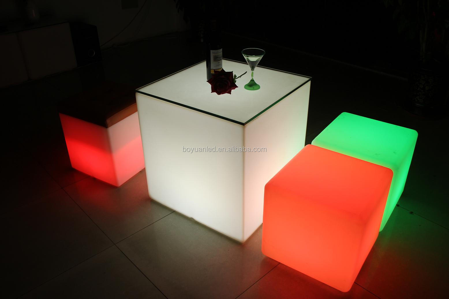 Modern Led Light Up Glass Cube Coffee Bar Table