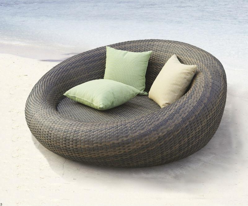 Garden Furniture Outdoor Pe Rattan Round Sun Bed My9089b