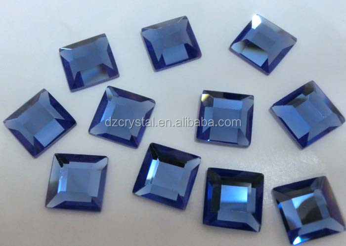 square sea blue crystal glass stone for jewelry rhinestone