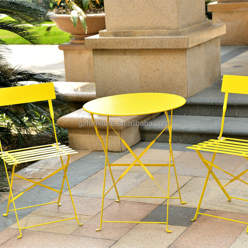 Portable folding 3 piece metal garden furniture bistro set buy portable folding metal bistro Metal garden furniture sets