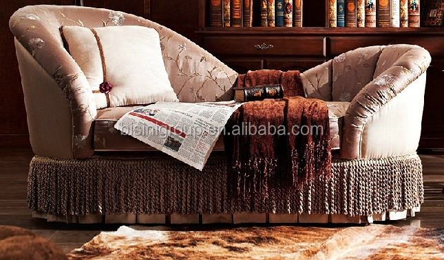 Romantic French Style Chaise Lounge Sofa In Vintage Cream Color BF11 0507b