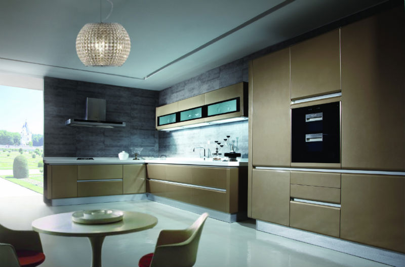 Dark Color Of Fashion Kitchen Furniture Without Handles High Gloss