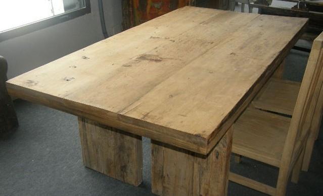 Mesas de comedor de madera antiguas free mesa comedor para equipales madera y piel estilo - Mesa madera maciza rustica ...