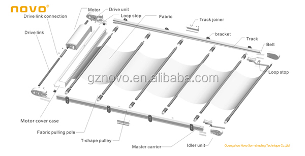 Sun Shade Roof Awning Glass Skylight Folding Motorized