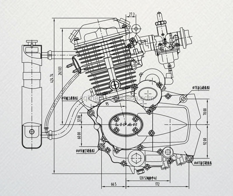 Lifan Engines 250cc Water Cooled Three Wheel Motorcycle Engine