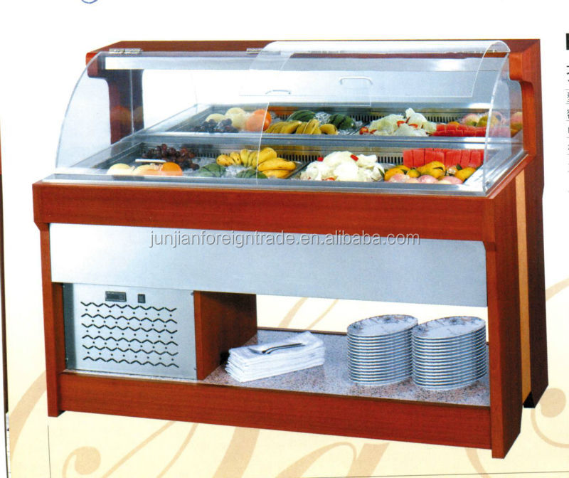 Luxury Marble Salad Bar Display Counter Commercial Refrigerator Top Cabinet Guangzhou Manufacturer