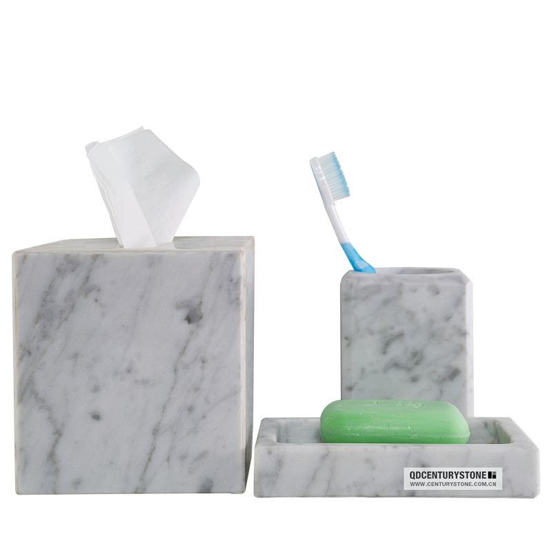 Beautiful carrara white marble bathroom accessories buy for Marble bathroom accessories