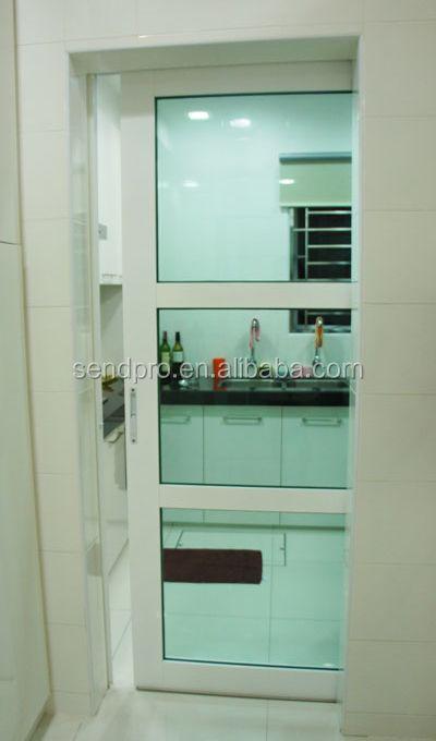 Tunggal Panel Interior Pembatas Ruangan Kaca Tempered Geser Dapur Pintu