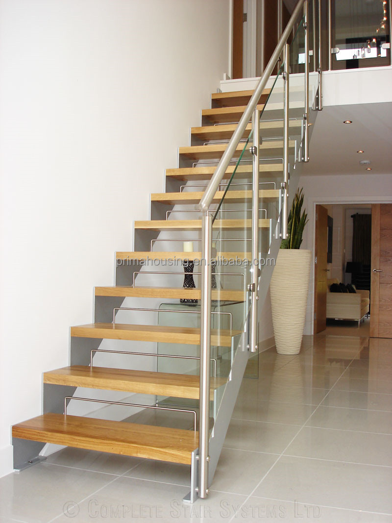 Indoor Glass Railing Modern Open Riser Stairs