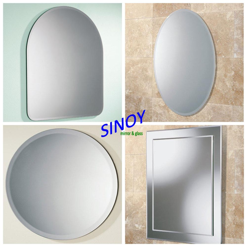 Bevelled Bathroom Mirror Sinoy Decorative Frameless Bathroom Mirrorwith Polished C Edge