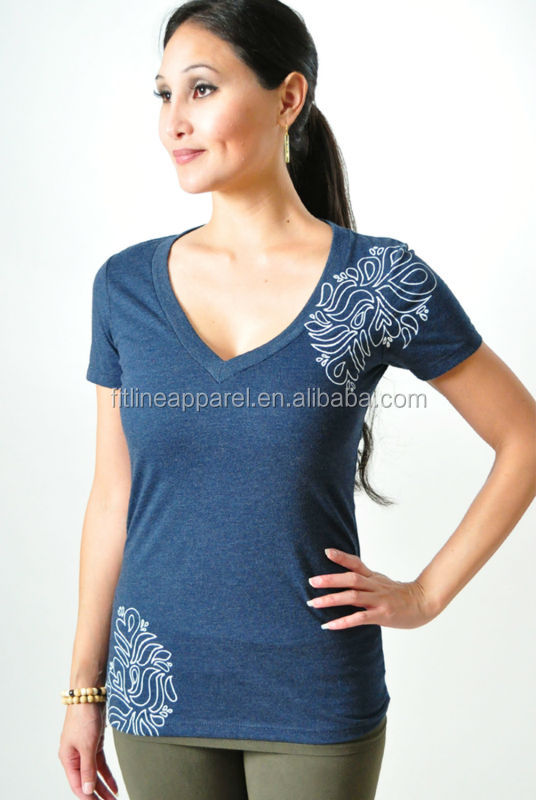 stretchy cotton spandex womens deep V neck short sleeve t-shirt  sexy  printed 4b3287e271