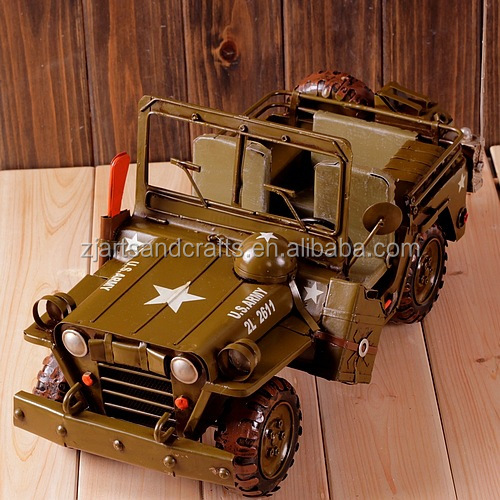 Handmade metal craft antique car model for home collection