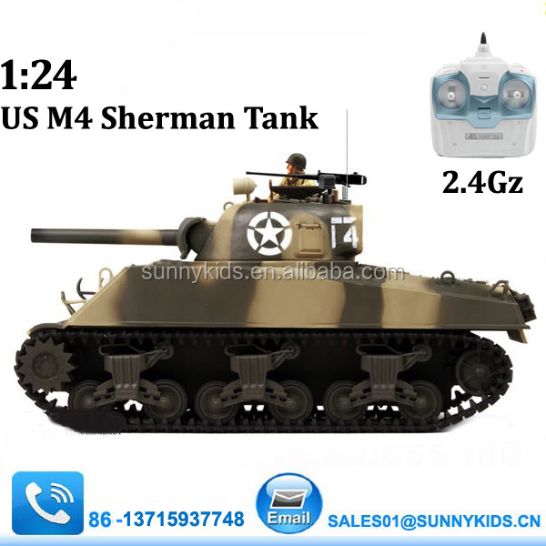 2 4g remote control tank us m4 sherman with hard plastic treads set
