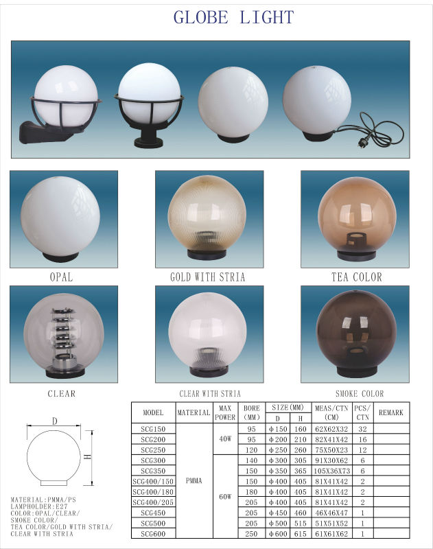 Outdoor Lighting Uvioresistant Acrylic Globe Wall Lights