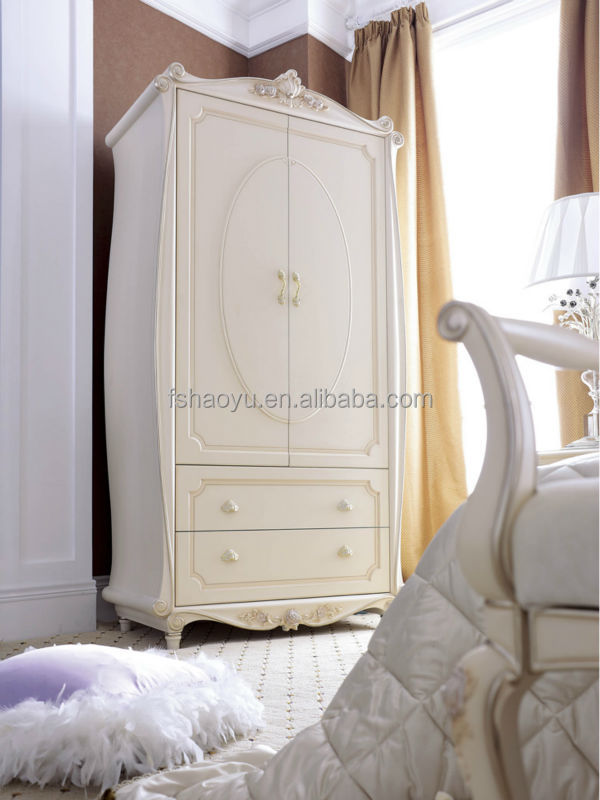 French Style Wooden Almirah Designs Ivory Bedroom Wardrobe