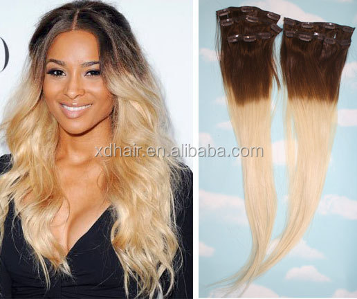 Brown to blonde ombre dip dyed human hairfull set clip in brown to blonde ombre dip dyed human hair full set clip in extensions hippie pmusecretfo Images