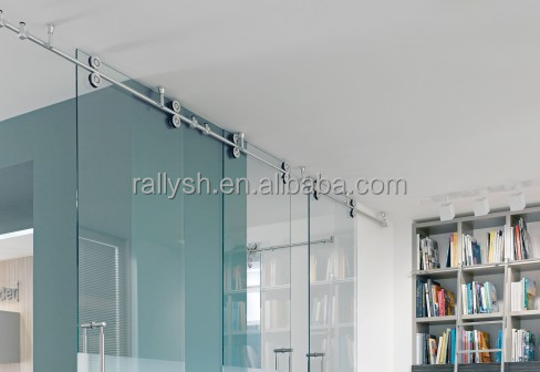 door 12mm tempered glass sliding commercial door 3 track sliding
